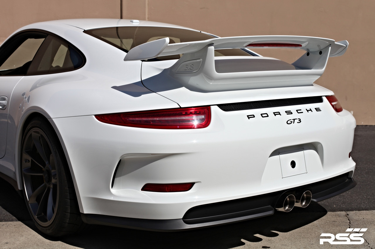 "997 GT3/RS + 991.1 GT3/RS X-Pipe RSS Center Exhaust RSS is proud to announce the release of the New 997 GT3/RS + 991.1 GT3/RS X-Pipe Center Exhaust. The RSS X-Pipe (1208 Series replaces the Legacy 1203/1204 Series) features the ""Signature RSS Motorsport Sound"" with X-Cross Over Design and is engineered for sustained use at 9000 RPM! New X-Pipe features a very robust mounting system that eliminates the commonly used chassis mounting straps which are considered problematic and failure prone for sustained high RPM use. • One Piece Exhaust Featuring X-Crossover Design • Aggressively Tuned Motorsport Sound and Styling • 50% Weight Reduction Vs. OE Center Exhaust • Tig Welded 304 Stainless Steel Construction • Emissions Compliant: EU, EPA, and CARB • Finished in RSS Ceramic Ceramic Black, Handmade in Southern California, USA 1208/30 – Black Ceramic 1208/P – Polished Tips"