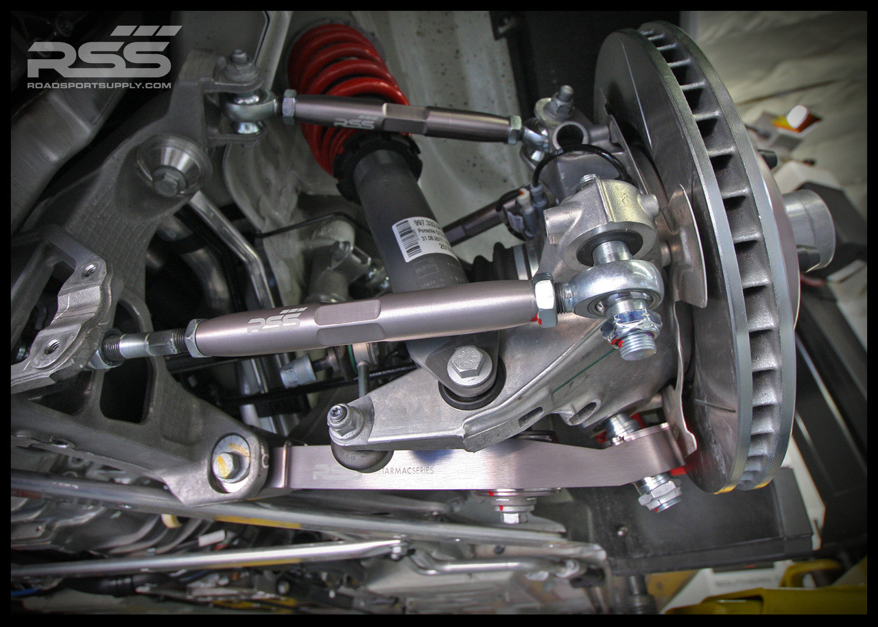 """RSS Part # TS-2 """"Tarmac Stage 2"""" Suspension Kit (997 C2, C4, GTS, Turbo Chassis). Winner of the """"2014 Spanish Tarmac Rallye Championship"""" Results Matter…not hype"""" RSS Tarmac Stage 2 Suspension System (TS-2 or TS-2-BC) is the most rigorously engineered, tested, validated, and motorsport homologated aftermarket mono-ball suspension system available for your Porsche....Period! RSS TARMAC SERIES Motorsports Suspension Kits have been winning championships, races and setting track records in various forms of motorsport (Sports Car Racing, Endurance Racing and Rally) around the world. RSS is the preferred suspension of choice of professional race teams, tuners, track day junkies, and driving enthusiasts around the world. - 2013 ROLEX GRAND-AM GX CHAMPIONS - - 2014 Supplier of PIRELLI GT3 CUP TROPHY USA - 2014 FiA – GROUP GT RALLY WINNERS - 2015 PIRELLI WORLD CHALLENGE TC CHAMPIONS"""