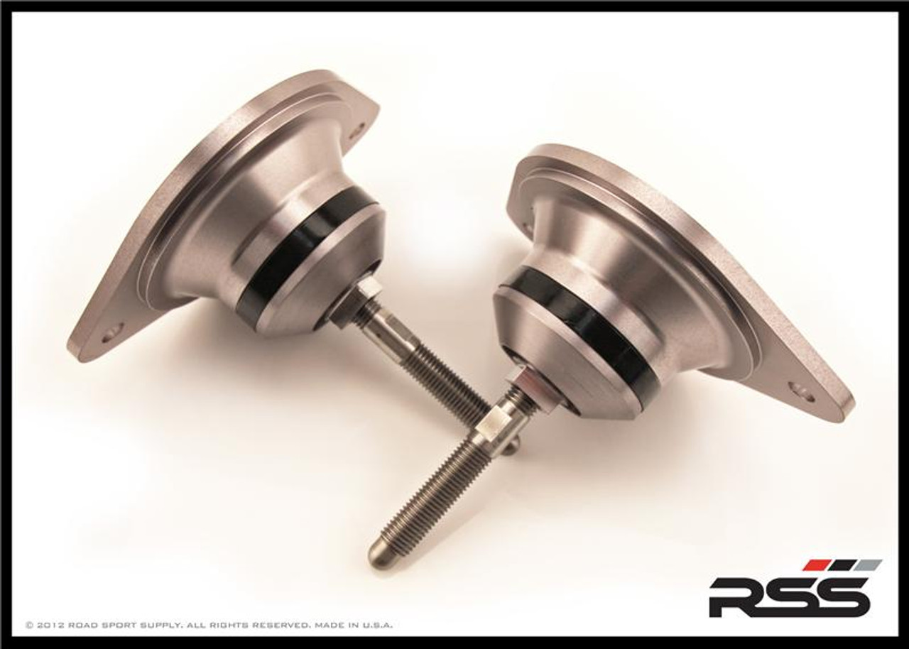 • The RSS Tarmac Series Performance Engine Mounts are designed for the Porsche driver who demands the absolute maximum in precision handling, feedback and control from their chassis.  • With factory hydraulic engine mounts, the drivetrain will move independent of the chassis during acceleration, deceleration and cornering loads. This movement can upset the balance of the vehicle and create negative handling effects.  • Our performance engine mounts minimize these effects by utilizing specialized polyurethane bushings which offer a firmer, more direct driving feel with optimum feedback.  • This upgrade will NOT adversely effect ride quality or cause knock sensor issues commonly associated with solid engine mounts.  • AVAILABLE FOR ALL 996 & 997 MODEL VARIANTS INCLUDING TURBO, GT2, GT2RS, GT3 & GT3RS Specifications