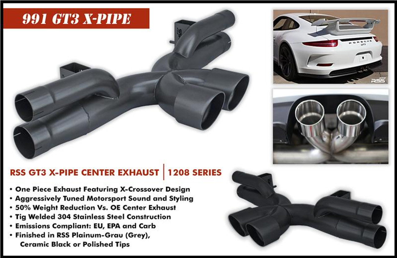 1208/P RSS X-Pipe Center Exhaust - Black Ceramic Coat (991.1 GT3/RS )