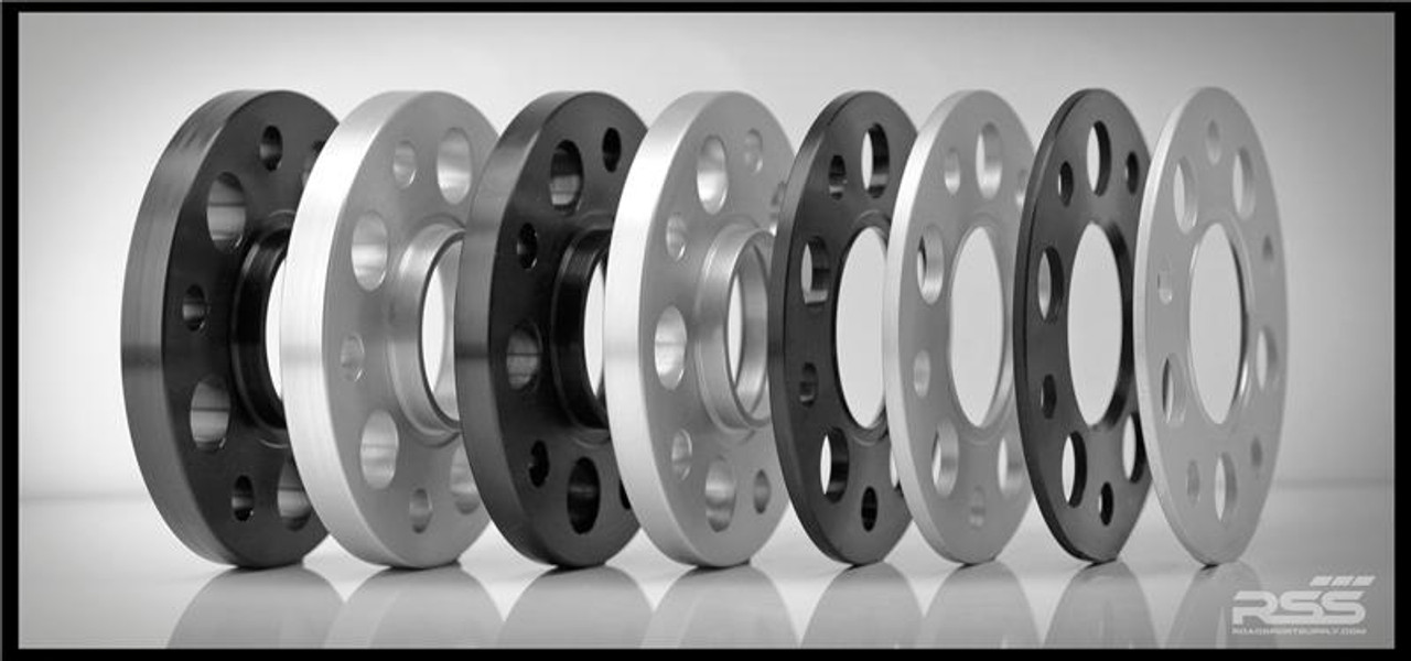 All RSS Wheel Spacer Kits Come In Pairs, Include Locating Pin & Longer Wheel Bolts Where Applicable  • Fitments for Most Late Model Porsche Vehicles Including the Newest 981 & 991  • Available in 5mm, 7mm, 15mm & 18mm Sizes  • Hubcentric Design Where Applicable  • Most Kits Available in Silver or Black with Matching Silver or Black Wheel Bolts  • NEW for 2013 – Combination Finish: Silver Spacers with Black Wheel Bolts (Currently Available In Most Popular Sizes 7mm & 15mm Only)  • Made at RSS in the USA with Premium Grade Materials  • Satisfaction & Fitment Guaranteed