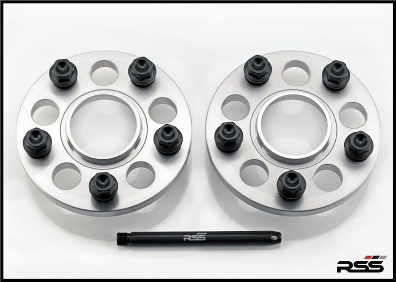 Porsche 15MM SPACERS, SET OF 2 • 971 Panamera Split Finish Wheel Packages • Kit Includes Silver Spacers and All New Black Wheel Bolts at the Appropriate Longer Length and Locating Pin  • All RSS Wheel Spacer Kits Come In Pairs, Include Locating Pin & Longer Wheel Bolts Where Applicable  • Available in 5mm, 7mm, 15mm & 18mm Sizes  • Hubcentric Design Where Applicable  • Most Kits Available in Silver or Black with Matching Silver or Black Wheel Bolts  • Combination Finish: Silver Spacers with Black Wheel Bolts  • Made at RSS in the USA with Premium Grade Materials  • Satisfaction & Fitment Guaranteed