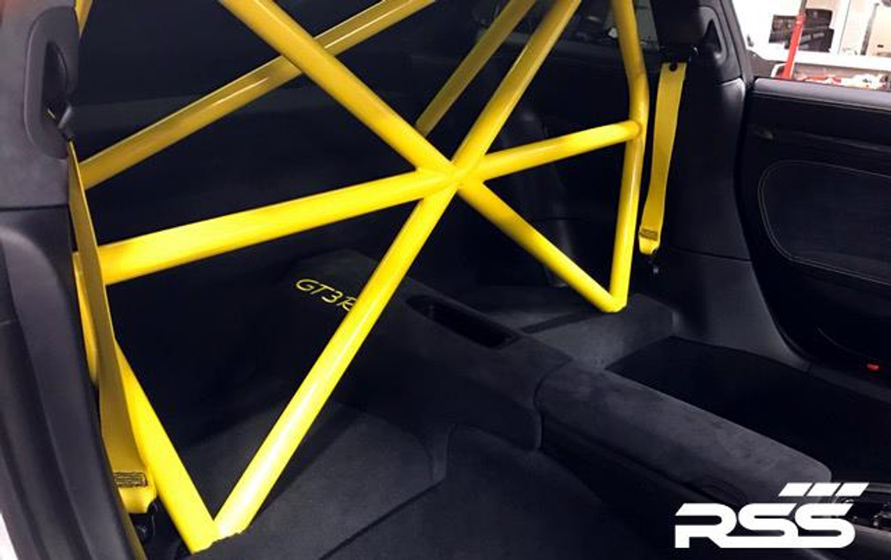 "RSS 940-XC Series 4pt. Roll Bar (991 GT3 / RS & 991 Without Sunroof/Moonroof)  o The RSS 940-XC Series 4pt. Roll Bar features the ""X-Cross"" main hoop design providing superior occupant protection  o The XC's one piece Main Hoop mounts to a reinforced chassis cross member at the B Pillar which runs the full width of the vehicle. Unlike other designs, the Main Hoop has a maximum of four bends featuring a Straight Top Tube Section forming a stronger more rigid main hoop.  o The 940-XC is a safety inspired design which mounts shoulder harnesses directly behind the occupants attaching at the main hoop horizontal bar. The main hoop mounting position greatly enhances safety by reducing the effects of ""Harness Stretch."" Harness Stretch is a serious safety concern commonly overlooked with other designs.  What is Harness Stretch? Simply put, safety harness-belts allow a certain percentage of stretch during a rapid deceleration event, the longer the harness-belt, the more overall stretch it will allow. This unsafe forward movement can be dangerous, especially when airbags deploy. By significantly shortening harness-belt length (mounting to main hoop vs. rear compartment of vehicle) occupant torsos are securely anchored against the seats reducing this unwanted excessive forward movement.  o Rear Down Tubes feature precision cut and reinforced mounting plates that attach to rear shock towers incorporating all three shock mounting points, maximizing contact area to evenly distribute load.  o The Rear Diagonal Brace provides additional main hoop and rear shock tower triangulation and increases chassis rigidity.  o The 940-XC allows full seat base travel with standard seats, OE buckets or racing buckets and allows full use of factory seat belts. (Easily fits 6'4 inch driver in Recaro SPG XL Racing Seat).  o Bolt-In Installation does not require drilling of chassis or cutting of interior side panels common with other bars. The Bar uses vehicles existing hardware, carpet panel trimming is required at B and C Pillar. Professional installation is recommended for a factory installed look.  o Available in 5 Durable Powder Coat Finishes (at no additional charge): White, Silver, Satin Black, Speed Yellow, Guards Red or uncoated for custom color matching.  o Designed, Crafted, Tig Welded, and Powder Coated at the RSS Fabrication Center utilizing 1.50 inch DOM, CNC machined heavy duty locking tube couplers, and precision cut reinforced mounting plates.  o Patent Pending Design"