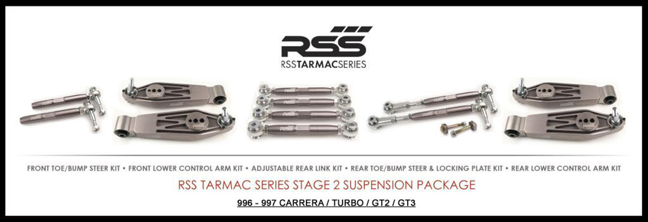 "RSS Part # TS-2 ""Tarmac Stage 2"" Suspension Kit (997.2 GT3/RS, GT2/RS Chassis). Winner of the ""2014 Spanish Tarmac Rallye Championship"" Results Matter…not hype"" RSS Tarmac Stage 2 Suspension System (TS-2 or TS-2-BC) is the most rigorously engineered, tested, validated, and motorsport homologated aftermarket mono-ball suspension system available for your Porsche....Period! RSS TARMAC SERIES Motorsports Suspension Kits have been winning championships, races and setting track records in various forms of motorsport (Sports Car Racing, Endurance Racing and Rally) around the world. RSS is the preferred suspension of choice of professional race teams, tuners, track day junkies, and driving enthusiasts around the world. - 2013 ROLEX GRAND-AM GX CHAMPIONS - - 2014 Supplier of PIRELLI GT3 CUP TROPHY USA - 2014 FiA – GROUP GT RALLY WINNERS - 2015 PIRELLI WORLD CHALLENGE TC CHAMPIONS"