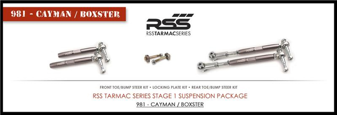 987 - RSS TARMAC SERIES Stage - 1 Boxster / Cayman Suspension Kit corrects lowered suspension geometry, eliminates rubber bushing deflection, sharpens drivers feedback, and improves vehicles handling dynamics. Specify chassis type when ordering. ADJUSTABLE FRONT & REAR TOE/BUMP STEER KITS- Correct suspension geometry changes in the front & rear of the lowered vehicle and allow additional toe adjustment at the toe steer arm. Features heavy duty, high tolerance monoball rod ends for precise suspension articulation. The rod ends are height adjustable to help reduce/eliminate bump steer. LOCKING PLATE KIT- Designed for use with our Adjustable Rear Toe/Bump Steer Kit. It replaces the factory eccentric bolt which can come loose under racing and/or aggressive driving conditions. Preserve your alignment settings with this kit. TS-1-BC is part of the TS-2-BC Championship Winning Kit! - 2015 PIRELLI WORLD CHALLENGE TC CHAMPIONS - 2013 ROLEX GRAND-AM GX CHAMPIONS