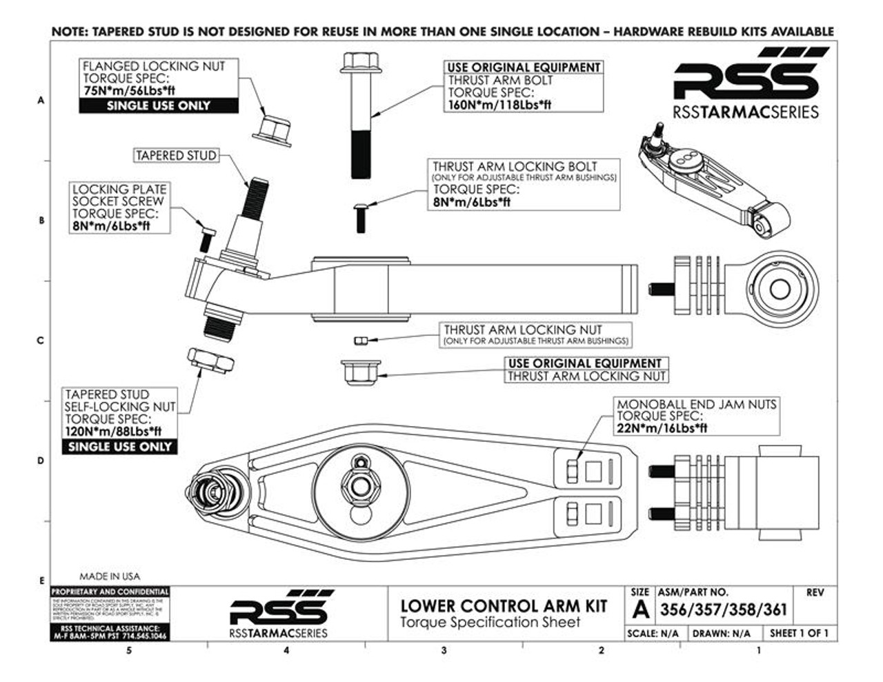 RSS Tarmac Series Lower Control Arm - Outer Ball Joint Pin Rebuild Kit: Includes - 1 x Tapered Stud, 1 x Upper Lock Nut, 1 x Lower Lock Nut and 4 x Roll Center Spacers/Washers. 1 Kit Per RSS Lower Control Arm (Fits: Part #s: 356, 357, 361, 372, 373, 374 and 366). USER NOTE: A new 380 Kit should be installed once ball joint pin has been removed from hub. See Lower Control Arm Notes.
