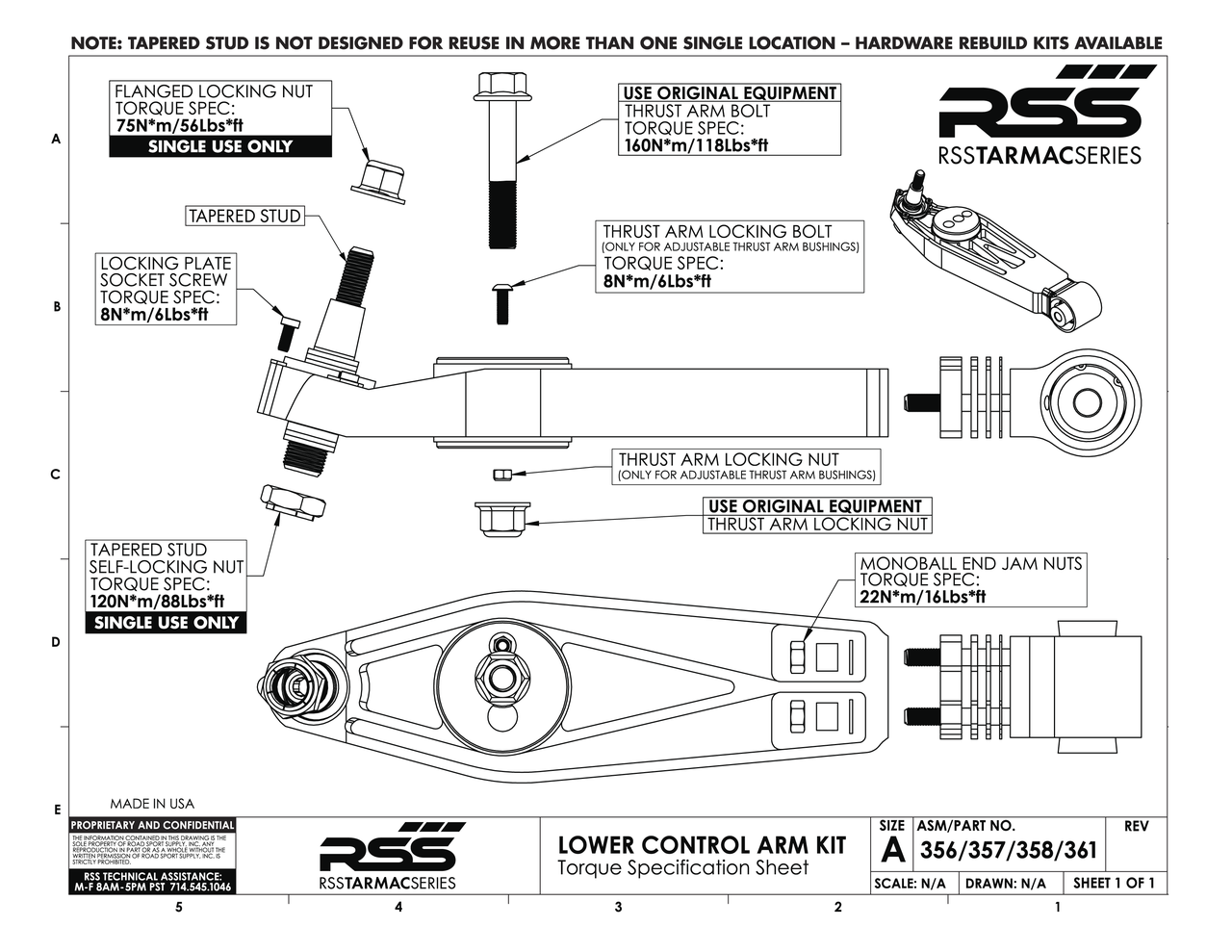 "#356 RSS TARMAC SERIES 2-PIECE COMPLETE LOWER CONTROL ARM KIT - Front Axle (Pair of 2). Fits front axle 986, 996, 997 GT3/GT3RS, and 997 GT2. Includes: Adjustable/Non-Hydraulic Replacement Thrust Arm Bushings, 1mm/2mm/3mm/7mm Shims, Spherical Monoball Ends.   RSS Tarmac Series Motorsport Lower Control Arms are specifically engineered for use on lowered vehicles that have reduced travel struts/dampers If you need assistance in identifying your suspension type please contact us. For specific fitment information refer to the ""Chassis Fitment Guide and Lower Control Arm Fitment Notes"" (See Images Below).  The RSS Tarmac Series – Motorsports Control Arms are designed for the Porsche driver who demands the absolute maximum in precision handling, feedback and control from their chassis. This system has been specially engineered to provide unmatched performance, quality, strength and serviceability. RSS Tarmac Series Control Arms address the performance related shortcomings of the OEM rubber mounted suspension components which were designed to reduce road noise and vibration for everyday street use. The use of rubber injected moldings in mounting components such as the control arms, thrust arms, upper links and toe arms is a compromise in regards to maximum suspension performance. The soft rubber deflects under suspension load which in turn causes unwanted movement (deflection) between the suspension and chassis. Data also shows that temporary changes in spring rates can occur as well. These movements and changes result in unnecessary corrections and inputs from the driver.  FEATURES & BENEFITS • Completely Serviceable: For the extreme, repetitive track day enthusiast or racer, our high strength steel alloy spherical bearings (with a friction reducing, longevity increasing Teflon liner) can be replaced unlike the motorsports arms, in which case a new set of arms will need to be purchased if the spherical bearings are worn out. • Adjustable Suspension Geometry: Adjust dynamic camber values and roll center heights with our unique zinc plated steel bushings. • Solid Monoball Control Arm Ends: Offers better handling and a more responsive suspension over the factory one-piece rubber injected control arm by eliminating bushing deflection (also uses the same high strength steel alloy spherical bearing found in our control arm monoball kit). • 6061 Aerospace Grade Billet Aluminum Construction: Allows for a more uniform molecular structure at every point of the arm over the cast components providing a more durable and inherently stronger part. Manufacturing from billet aluminum rather than casting results in fewer impurities in the metal. • Anodized Aluminum Surfaces and Zinc Plated Steel Parts: Allows for better corrosion resistance against the elements. AVAILABLE FOR MOST 996, 986, 981, 982, 987 & 997 MODELS INCLUDING TURBO, GT2, GT2RS, GT3 & GT3RS  RSS TARMAC SERIES Motorsports Suspension Kits have been winning championships and races in various forms of motorsport (Road Racing to Rally) around the world. RSS is the suspension of choice of professional race teams, tuners, track day junkies, and driving enthusiasts around the world.  - 2015 PIRELLI WORLD CHALLENGE TC CHAMPIONS  - 2014 FIA SPANISH RALLY TARMAC CHAMPIONS  - 2013 ROLEX GRAND-AM GX CHAMPIONS  RSS High Performance Tarmac Series Suspension Components are designed, engineered and manufactured on location here in the USA."