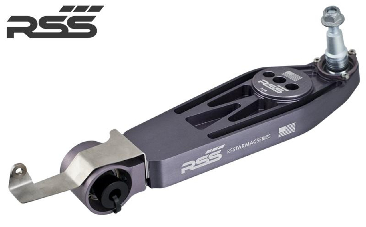 RSS Part #364 integrates the optional Litronic or Adaptive Headlamp systems with the Tarmac Series Lower Control Arms on 987 Boxster / Cayman. Adapter Bracket for RSS Tarmac Series Rear Lower Control Arm. - 1 Per Car (Located on rear drivers side axle, connects to OE Sensor Arm)