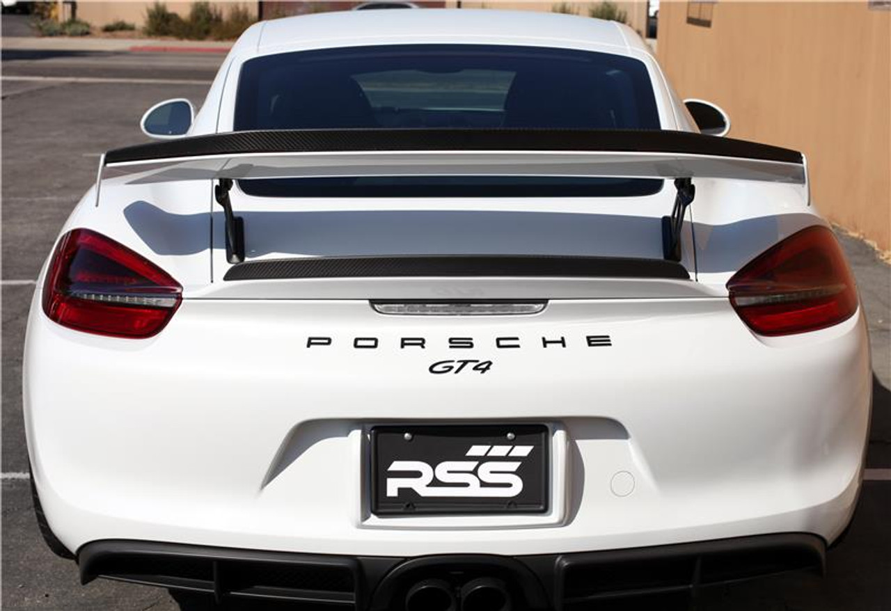 RSS - CarbonAero Kit # 252 for 981 GT4. Includes REAR WING EXTENSION. Aesthetically pleasing and aggressive in appearance, WING EXTENSIONS have a functional purpose with direct benefits on street and motorsports applications. Designed with the latest CAD technology, constructed to exacting standards with pre-preg 2×2 Carbon Fibre Twill, finished in a Matte Clear Coat with UV inhibitors, adhere with 3M VHB tape for easy application and removal, and are 100% Manufactured in USA. Components are are of the highest quality and are guaranteed to fit.• Produce down force by deflecting oncoming air upward resulting in a net down force on the rear of the vehicle. Can be used to balance and tune front to rear down force levels.