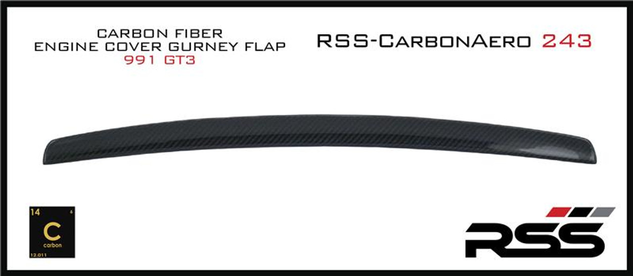 RSS - CarbonAero Kit # 243 for 991.1 GT3. Includes REAR ENGINE COVER GURNEY FLAP. Aesthetically pleasing and aggressive in appearance, Canards and Gurney Flaps have a functional purpose with direct benefits on street and motorsports applications. Designed with the latest CAD technology, constructed to exacting standards with pre-preg 2×2 Carbon Fibre Twill, finished in a high gloss clear coat with UV inhibitors, adhere with 3M VHB tape for easy application and removal, and are 100% Manufactured in USA. Components are are of the highest quality and are guaranteed to fit.• Produce down force by deflecting oncoming air upward resulting in a net down force on the rear of the vehicle • Can be used to balance and tune front to rear down force levels