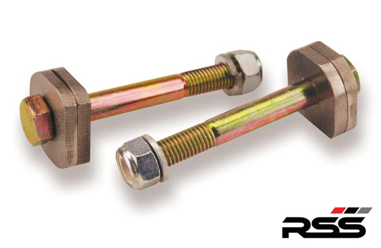 Save your alignment! RSS Locking Plate Kit for use with our Part #312, 301 or 302.. Fits all 996, 997, 986, 987 and 981 and GT4 RSS Adjustable Rear Toe Steer Kit. Replaces the factory eccentric bolt eliminating the chance of loosening during aggressive driving and or racing conditions. For off road use only. Made by RSS in USA
