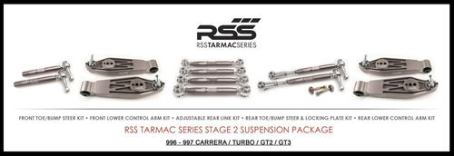 "RSS Part # TS-2 ""Tarmac Stage 2"" Suspension Kit (997 C2, C4, GTS, Turbo Chassis). Winner of the ""2014 Spanish Tarmac Rallye Championship"" Results Matter…not hype"" RSS Tarmac Stage 2 Suspension System (TS-2 or TS-2-BC) is the most rigorously engineered, tested, validated, and motorsport homologated aftermarket mono-ball suspension system available for your Porsche....Period! RSS TARMAC SERIES Motorsports Suspension Kits have been winning championships, races and setting track records in various forms of motorsport (Sports Car Racing, Endurance Racing and Rally) around the world. RSS is the preferred suspension of choice of professional race teams, tuners, track day junkies, and driving enthusiasts around the world. - 2013 ROLEX GRAND-AM GX CHAMPIONS - - 2014 Supplier of PIRELLI GT3 CUP TROPHY USA - 2014 FiA – GROUP GT RALLY WINNERS - 2015 PIRELLI WORLD CHALLENGE TC CHAMPIONS"