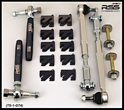 """RSS - GT4 Cayman 981 Stage 1 Suspension Kit: """"Taking GT4 performance to a higher level"""" The TS-1-GT4 Kit Features RSS Championship Winning Spherical Bearing/Monoball Technology: Kit includes 371 Front Bump Steer Kit, 302 Rear Toe Steer Kit, 333 Rear Eccentric Lock Out Plate Kit, and 308 Camber Shims Kits for Front and Rear Axles."""