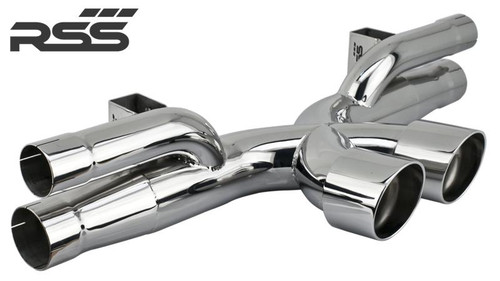 "997 GT3/RS + 991.1 GT3/RS X-Pipe RSS Center Exhaust RSS is proud to announce the release of the New 997 GT3/RS + 991.1 GT3/RS X-Pipe Center Exhaust. The RSS X-Pipe (1208 Series replaces the Legacy 1203/1204 Series) features the ""Signature RSS Motorsport Sound"" with X-Cross Over Design and is engineered for sustained use at 9000 RPM! New X-Pipe features a very robust mounting system that eliminates the commonly used chassis mounting straps which are considered problematic and failure prone for sustained high RPM use. • One Piece Exhaust Featuring X-Crossover Design • Aggressively Tuned Motorsport Sound and Styling • 50% Weight Reduction Vs. OE Center Exhaust • Tig Welded 304 Stainless Steel Construction • Emissions Compliant: EU, EPA, and CARB • Finished in Hi Polished Stainless Steel, Handmade in Southern California, USA 1208/30 – Black Ceramic 1208/P – Hi Polished 304 Stainless Steel Tips/Pipe."