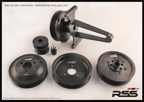 The RSS Motorsport Pulley Kit has proven itself in some of the toughest endurance racing series. BGB Motorsports ran the 623 Motorsport Pulley Kit for the entire 2013 season, from the 24hrs.of Daytona to clinching the 2013 ROLEX GRAND-AM GX Championship!  RSS Lightweight Underdrive Pulleys are made from 6061-T6 aluminum. Offer improved HP & TQ by reducing drag from the power steering pump, A/C, water pump and alternator. A great upgrade for any street or track enthusiast.  The RSS Cayman / Boxster Race Pulley Kit Fits DFI and 2.9L motors: Includes all 5 components - Alternator, Crank, Power Steering, Tensioner & Water Pump - Complete Offset Pulley Kit Please contact us for more information MADE ON LOCATION IN CA, USA