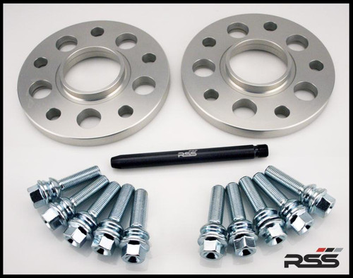 • All RSS Wheel Spacer Kits Come In Pairs, Include Locating Pin & Longer Wheel Bolts Where Applicable  • Fitments for Most Late Model Porsche Vehicles Including the Newest 981 & 991  • Available in 5mm, 7mm, 15mm & 18mm Sizes  • Hubcentric Design Where Applicable  • Most Kits Available in Silver or Black with Matching Silver or Black Wheel Bolts  • NEW for 2013 – Combination Finish: Silver Spacers with Black Wheel Bolts (Currently Available In Most Popular Sizes 7mm & 15mm Only)  • Made at RSS in the USA with Premium Grade Materials  • Satisfaction & Fitment Guaranteed