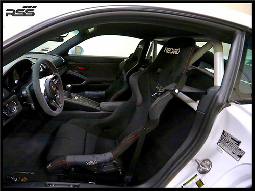 """The RSS """"951-Hybrid' Series 2pt Harness Bar (Uncoated - Raw) for 981 Cayman / GT4 / 718, is Engineered to maximize function, add rigidity, minimize added weight (+20 lbs), offer generous occupant seating space and integrate with interior. The Bar is a safety inspired design which secures safety harnesses directly behind the occupants shoulders. A one piece main hoop mounts to the chassis cross member and features a Straight Top Tube for a stronger main hoop. Diagonal Tubes provide additional structural support without obstructing the drivers rearward visibility. The Bar allows generous seat base travel with standard, OE bucket or racing bucket seats. Retains use of factory seat belts. Bolt-In installation, carpet, panel and tab trimming is required, Professional installation is recommended for a factory installed look. Designed, constructed and powder coated at RSS utilizing 1.50 inch DOM with precision cut reinforced mounting plates. Patent Pending Design"""