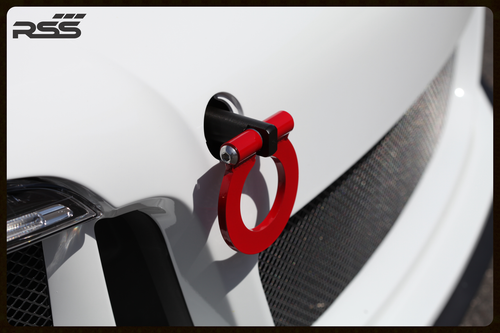 """RSS Tow Hooks for Porsche Automobiles. Designed, engineered and manufactured in USA. High quality and functionality for your Porsche. RSS Folding Tow Hooks for Porsche Models are engineered with a 90 Degree Angle Stop Design and with Adjustable Bumper Offset to prevent bumper cover contact. Made in USA at RSS. Easy to Install, Screws Into Factory Location; Black 1018 Steel Shaft w/Stainless Steel Hoop; Angle of Hoop is Adjustable; 2"""" Opening; Utilizes Special Factory Porsche Thread Style; 981/982 Boxster, Cayman, and 991 Carrera, 991.1 GT3/RS and Turbo: BLACK (#938-30), and RED (#938-34)."""