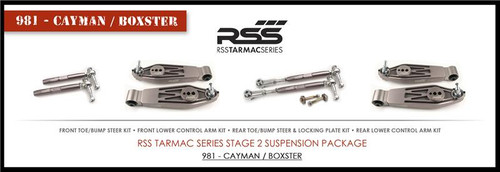 """RSS Part # TS-2BC-981/982-718 Tarmac Stage 2 Suspension Kit for Boxster / Cayman. """"Winner of 2015 PIRELLI WORLD CHALLENGE TC CHAMPIONSHIP, 2013 ROLEX GRAND-AM GX CHAMPIONSHIP"""". """"Results Matter…not hype"""" RSS Tarmac Stage 2 Suspension System (TS-2 or TS-2-BC) the most rigorously engineered, tested, validated, motorsport homologated aftermarket suspension system available for your Porsche....Period! RSS TARMAC SERIES Motorsports Suspension Kits have been winning championships, races and setting track records in various forms of motorsport (Sports Car Racing, Endurance Racing and Rally) around the world. RSS is the suspension of choice of professional race teams, tuners, track day junkies, and driving enthusiasts around the world. - 2013 ROLEX GRAND-AM GX CHAMPIONS - 2014 PIRELLI GT3 CUP TROPHY USA –- 2014 FiA – SPANISH RALLY TARMAC CHAMPIONS - 2015 PIRELLI WORLD CHALLENGE TC CHAMPIONS -"""