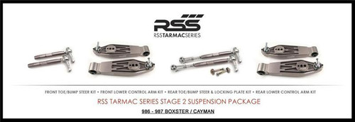 "RSS Part # TS-2-B Tarmac Stage 2 Suspension Kit for Boxster 986. ""Winner of 2015 PIRELLI WORLD CHALLENGE TC CHAMPIONSHIP, 2013 ROLEX GRAND-AM GX CHAMPIONSHIP"". ""Results Matter…not hype"" RSS Tarmac Stage 2 Suspension System (TS-2-B) is the most rigorously engineered, tested, validated, motorsport homologated aftermarket suspension system available for your Porsche....Period! RSS TARMAC SERIES Motorsports Suspension Kits have been winning championships, races and setting track records in various forms of motorsport (Sports Car Racing, Endurance Racing and Rally) around the world. RSS is the suspension of choice of professional race teams, tuners, track day junkies, and driving enthusiasts around the world. - 2013 ROLEX GRAND-AM GX CHAMPIONS - 2014 PIRELLI GT3 CUP TROPHY USA –- 2014 FiA – SPANISH RALLY TARMAC CHAMPIONS - 2015 PIRELLI WORLD CHALLENGE TC CHAMPIONS -"