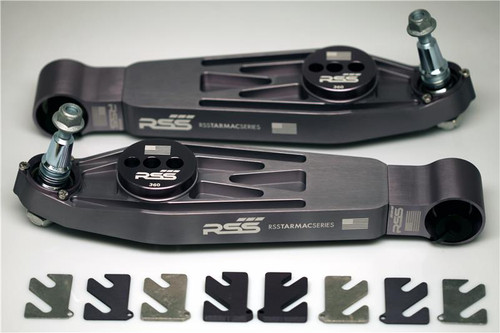 "#373 RSS TARMAC SERIES XL 2-PIECE COMPLETE LOWER CONTROL ARM KIT - Front Axle (Pair of 2). Fits front axle (986, 996, 997 GT3/RS,  997 GT2/RS). Includes: Adjustable/Non-Hydraulic Replacement Thrust Arm Bushings, 1mm/2mm/3mm/7mm Shims, Spherical Monoball Ends.** Note: 981 and 991 Models may require additional Front Litronic or Torque Vector Sensor Brackets.  RSS Tarmac Series Motorsport Lower Control Arms are specifically engineered for use on lowered vehicles that have reduced travel struts/dampers If you need assistance in identifying your suspension type please contact us. For specific fitment information refer to the ""Chassis Fitment Guide and Lower Control Arm Fitment Notes"" (See Images Below).  The RSS Tarmac Series – Motorsports Control Arms are designed for the Porsche driver who demands the absolute maximum in precision handling, feedback and control from their chassis. This system has been specially engineered to provide unmatched performance, quality, strength and serviceability. RSS Tarmac Series Control Arms address the performance related shortcomings of the OEM rubber mounted suspension components which were designed to reduce road noise and vibration for everyday street use. The use of rubber injected moldings in mounting components such as the control arms, thrust arms, upper links and toe arms is a compromise in regards to maximum suspension performance. The soft rubber deflects under suspension load which in turn causes unwanted movement (deflection) between the suspension and chassis. Data also shows that temporary changes in spring rates can occur as well. These movements and changes result in unnecessary corrections and inputs from the driver.  FEATURES & BENEFITS • Completely Serviceable: For the extreme, repetitive track day enthusiast or racer, our high strength steel alloy spherical bearings (with a friction reducing, longevity increasing Teflon liner) can be replaced unlike the motorsports arms, in which case a new set of arms will need to be purchased if the spherical bearings are worn out. • Adjustable Suspension Geometry: Adjust dynamic camber values and roll center heights with our unique zinc plated steel bushings. • Solid Monoball Control Arm Ends: Offers better handling and a more responsive suspension over the factory one-piece rubber injected control arm by eliminating bushing deflection (also uses the same high strength steel alloy spherical bearing found in our control arm monoball kit). • 6061 Aerospace Grade Billet Aluminum Construction: Allows for a more uniform molecular structure at every point of the arm over the cast components providing a more durable and inherently stronger part. Manufacturing from billet aluminum rather than casting results in fewer impurities in the metal. • Anodized Aluminum Surfaces and Zinc Plated Steel Parts: Allows for better corrosion resistance against the elements. AVAILABLE FOR MOST 996, 986, 981, 982, 987 & 997 MODELS INCLUDING TURBO, GT2, GT2RS, GT3 & GT3RS  RSS TARMAC SERIES Motorsports Suspension Kits have been winning championships and races in various forms of motorsport (Road Racing to Rally) around the world. RSS is the suspension of choice of professional race teams, tuners, track day junkies, and driving enthusiasts around the world.  - 2015 PIRELLI WORLD CHALLENGE TC CHAMPIONS  - 2014 FIA SPANISH RALLY TARMAC CHAMPIONS  - 2013 ROLEX GRAND-AM GX CHAMPIONS  RSS High Performance Tarmac Series Suspension Components are designed, engineered and manufactured on location here in the USA."