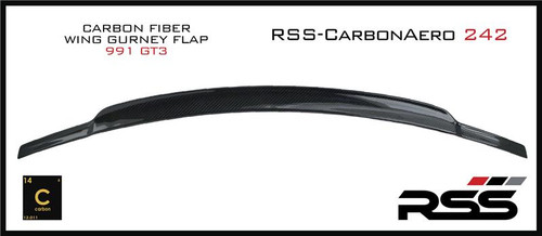 RSS - CarbonAero Kit # 242 for 991 GT3.1 (does not fit RS). Includes REAR WING EXTENSION GURNEY FLAP. Aesthetically pleasing and aggressive in appearance, Canards and Gurney Flaps have a functional purpose with direct benefits on street and motorsports applications. Designed with the latest CAD technology, constructed to exacting standards with pre-preg 2×2 Carbon Fibre Twill, finished in a high gloss clear coat with UV inhibitors, adhere with 3M VHB tape for easy application and removal, and are 100% Manufactured in USA. Components are are of the highest quality and are guaranteed to fit.• Produce down force by deflecting oncoming air upward resulting in a net down force on the rear of the vehicle. Can be used to balance and tune front to rear down force levels.