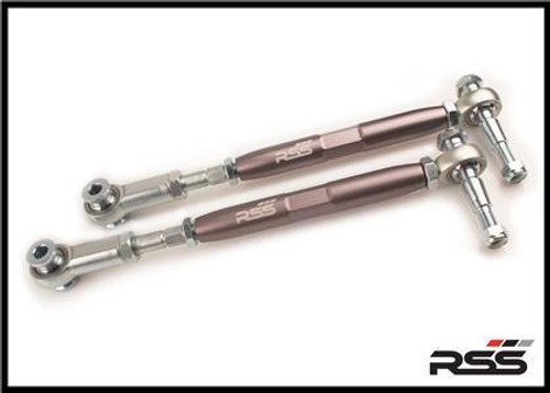 981/982/718 - ADJUSTABLE REAR TOE STEER KIT (Set of 2) The RSS Adjustable Rear Toe Steer Kit is designed for Porsche models that have been lowered. This kit will help minimize the suspension geometry change in the REAR of the vehicle. Allows for toe adjustment at the toe steer arm giving the ability to make adjustments independent of the factory eccentric bolts which may not offer sufficient adjustment. Allows for bump steer adjustment. Greatly improves handling and feedback. Eliminates rubber bushing deflection. For off road use only. AVAILABLE FOR ALL PORSCHE® 981/982 Boxster & Cayman Models For optional Locking Plate Kit, see our Part #333 For Front Toe/Bump Steer Kit, see our Part #371