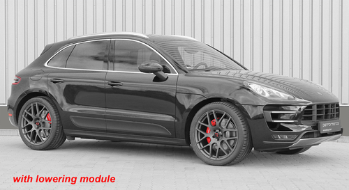 """Electronic Suspension Lowering Module - for Porsche Macan with Air Suspension  Including """"Plug and Play"""" adapter option  Front axle: -40mm lower (+/- 20mm) Rear axle:  -30mm lower (+/- 20mm)  Cargraphic electronic lowering modules are designed for  cars with OEM air suspension systems. The electronic  lowering module allows a suspension lowering of up to  40mm / 30mm (+/- 20mm) from the stock setting, which  improves the appearance of the vehicle and reduces the  centre of gravity for improved handling. The original height  adjustment switch and functionality are retained, and  many electronic lowering modules feature plug and play  installation with no wire cutting / splicing required. The  electronic lowering module comes with all necessary  mounting components as well as detailed instructions.  Product Advantages: - Electronic lowering module with all necessary connectors - Retains OE suspension geometry and suspension modes - Easy to install / remove  - Some applications available with """"plug and play"""" adapter - TÜV approval - OBD and EMC compliant   Attention - Important Note: All lowering modules come standard with a speed  controlled deactivation: Over 70 km/h or 44 mph the electronic lowering modul  deactivates itself and retains the car to standard ride  height for more driving comfort. This function can be  also deactivated if not wanted.  Also supplied is a switch to turn the lowering on and  off if necessary."""