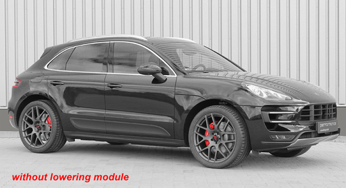"Electronic Suspension Lowering Module - for Porsche Macan with Air Suspension  Including ""Plug and Play"" adapter option  Front axle: -40mm lower (+/- 20mm) Rear axle:  -30mm lower (+/- 20mm)  Cargraphic electronic lowering modules are designed for  cars with OEM air suspension systems. The electronic  lowering module allows a suspension lowering of up to  40mm / 30mm (+/- 20mm) from the stock setting, which  improves the appearance of the vehicle and reduces the  centre of gravity for improved handling. The original height  adjustment switch and functionality are retained, and  many electronic lowering modules feature plug and play  installation with no wire cutting / splicing required. The  electronic lowering module comes with all necessary  mounting components as well as detailed instructions.  Product Advantages: - Electronic lowering module with all necessary connectors - Retains OE suspension geometry and suspension modes - Easy to install / remove  - Some applications available with ""plug and play"" adapter - TÜV approval - OBD and EMC compliant   Attention - Important Note: All lowering modules come standard with a speed  controlled deactivation: Over 70 km/h or 44 mph the electronic lowering modul  deactivates itself and retains the car to standard ride  height for more driving comfort. This function can be  also deactivated if not wanted.  Also supplied is a switch to turn the lowering on and  off if necessary."
