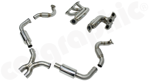 """Full Lightweight Racing Exhaust System Grand Am Cayman Cup  - for Porsche 981 Boxster / Cayman / 2,7l / 3,4l / 3,8l  This Lightweight racing exhaust as used in Grand Am Cayman Cup  has been developed and tested to the highest standard  on the dyno. The silencers are designed as absorptive silencers which  reduce exhaust back pressure drastically. In combination with a pair of equal length long tube  manifold set without integrated catalytic converters  (NOT OBD2 compliant / ECU reprogramming required)  the resultis beside more power and torque a better  response characteristic. Further evidence of improvements made, are recognised through an enhanced accoustic and weight reduction. Strenghtened brackets as well as the olive- and slide system ensure an exact adjustment, which guarantees a stressless installation.  Developed for maximum flow the equal length long tube primaries merge through a racing style spliced collector with spike and create the following further advantages: - Reduced backpressure - Reduced temperature - Maximized performance - Enhanced sound  - Weight reduction  - Lasercut machined stainless steel flanges for    accurate plain fit  PERFORMANCE +20kW(27PS) more power and 35Nm additional torque  The system includes: 1x RACING manifold set without integrated catalytic      converters     Ø 2.0"""" (51mm) extra long primary pipe length     1x Flex pipe set which allows maximum movement under      heat and absorbs vibrations     Ø 2.5"""" (63,5mm) pipe work  1x Lightweight race silencer set RACE-X with integrated     2x89mm tailpipes      Ø 2.5"""" (63,5mm) pipe work  1x Fitting kit pipework  Cargraphic Part # Full Lightweight Racing Exhaust System Grand Am Cayman Cup  - for Porsche 981 Boxster / Cayman / 2,7l / 3,4l / 3,8l  This Lightweight racing exhaust as used in Grand Am Cayman Cup  has been developed and tested to the highest standard  on the dyno. The silencers are designed as absorptive silencers which  reduce exhaust back pressure drastically. In comb"""