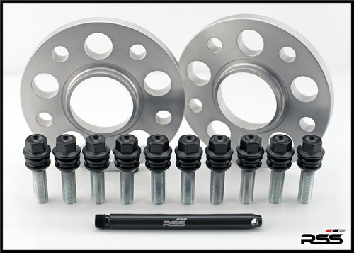 • All RSS Wheel Spacer Kits Come In Pairs, Include Locating Pin & Longer Wheel Bolts Where Applicable  • Fitments for Most Late Model Porsche Vehicles  • Available in 5mm, 7mm, 15mm & 18mm Sizes  • Hubcentric Design Where Applicable  • Most Kits Available in Silver or Black with Matching Silver or Black Wheel Bolts  • NEW for 2013 – Combination Finish: Silver Spacers with Black Wheel Bolts (Currently Available In Most Popular Sizes 7mm & 15mm Only)  • Made at RSS in the USA with Premium Grade Materials  • Satisfaction & Fitment Guaranteed