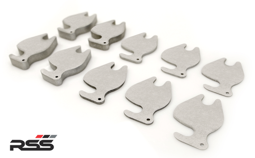 RSS #397 Tarmac Series Rear Alignment/Camber Shim Assortment Pack: For Rear Axle 991 GT3/GT2/RS: (2 of each size) 1mm, 2mm, 3mm, 8mm 10mm, for Porsche OE 2-Piece Rear Lower Control Arm Set.  Made in the USA