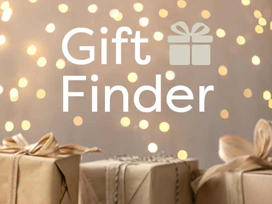 Gift Finder. Brown gift boxes and sparkling lights.