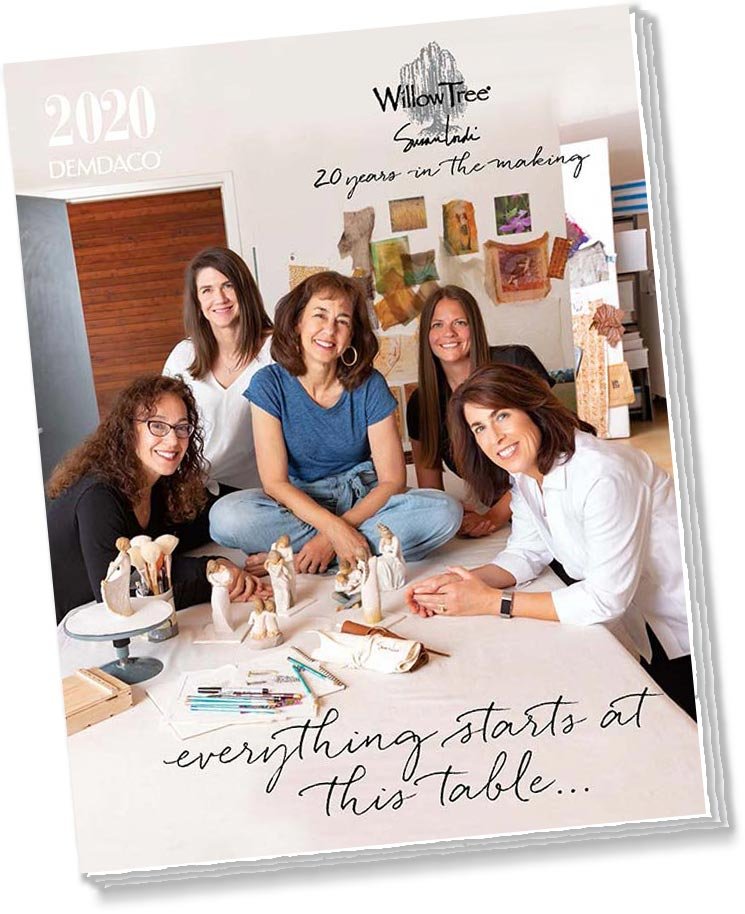 Brochure with a picture of five women at table in an art studio. Willow Tree, twenty years in the making. Everything starts at this table...