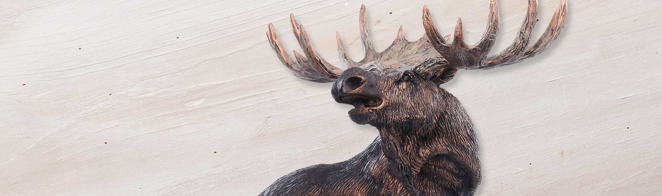 Closeup detail of bronze moose sculpture