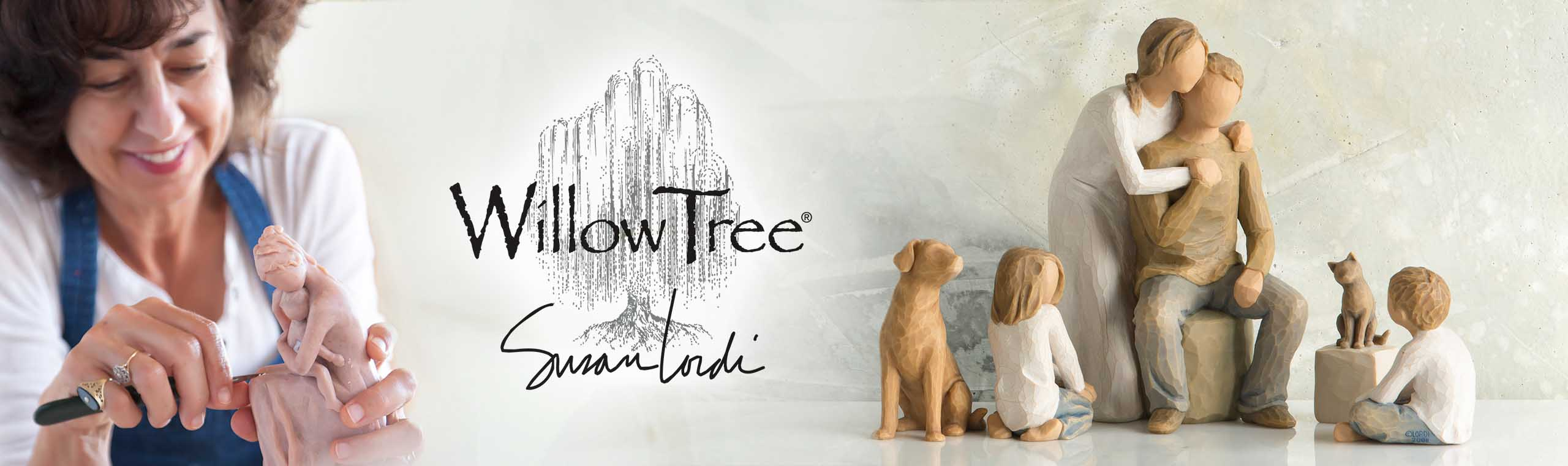 Susan Lordi hand-carving clay figure, Willow Tree and Susan Lordi hand signature, and family of hand-painted figurines