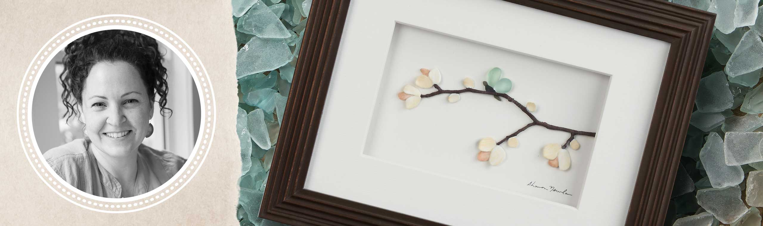 Portrait of artist Sharon Nowlan and a closeup detail of her blue green sea glass, pebble, and seashell artwork of a butterfly on a floral branch