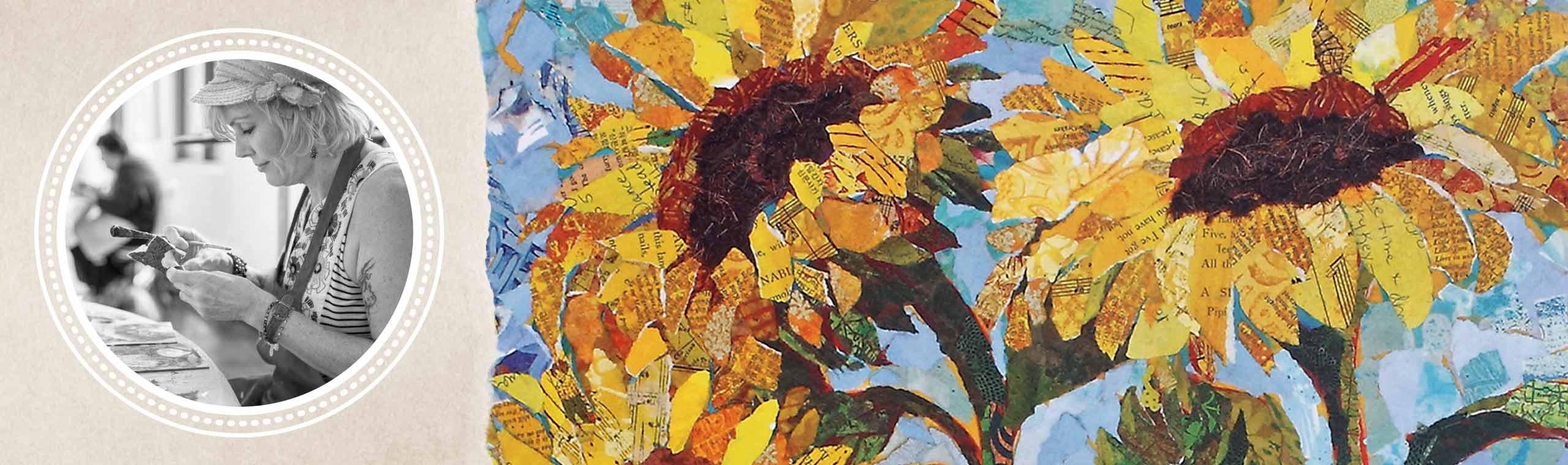 Portrait of artist Elizabeth St. Hilaire and her vibrant paper-collage artwork