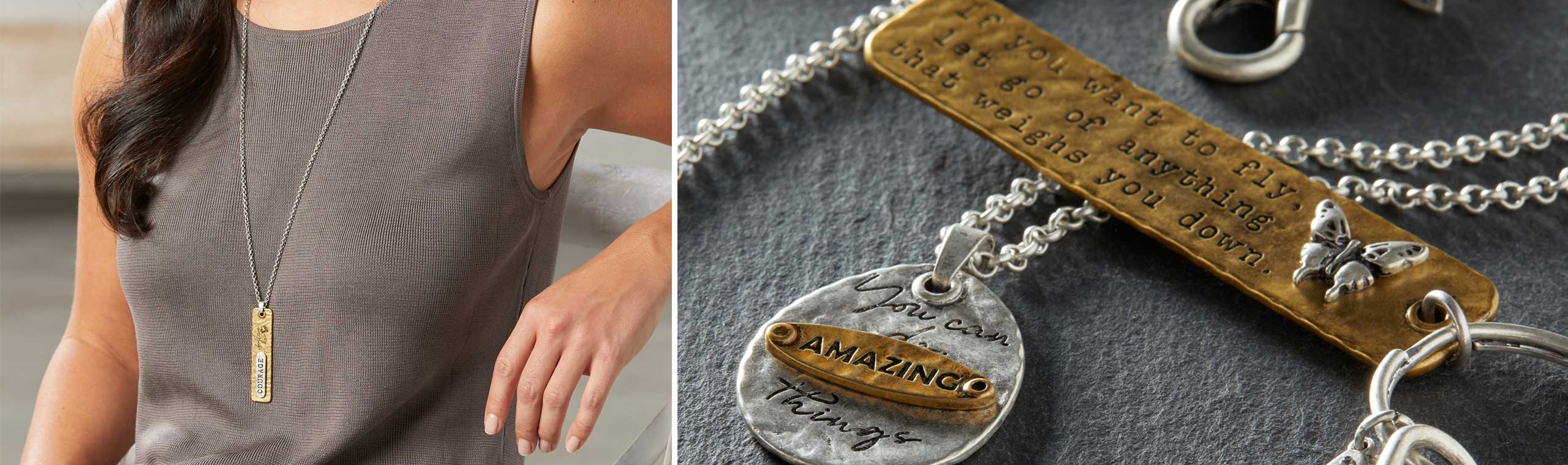 Woman wearing gold necklace engraved with the words Courage follows her