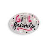 Silver round 'girl friends' token in black/pink