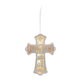 Hanging silvercross figurine with designs and gold lightinside