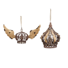 Set of two rustic brown crown ornaments- left one is smaller and has gold wings