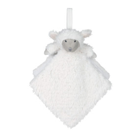 White square shaped lamb blankie hanging from white string