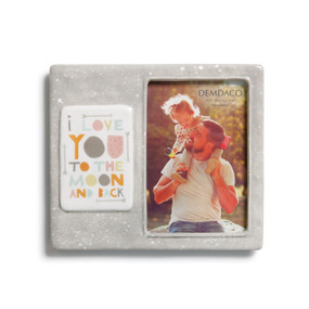 Light grey photo frame with white dots and 'i love you to the moon and back' printed on white square
