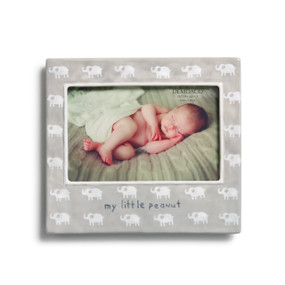 Light grey photo frame with white elephants printed all over them - 'my little peanut' carved in navy - image of baby in the frame