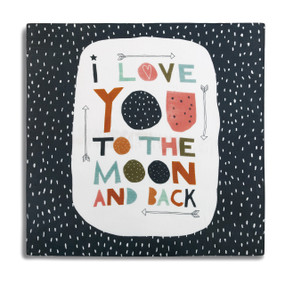 Black blanket with white polka dots and large round white center with 'I love you to the moon and back' in multi-colors