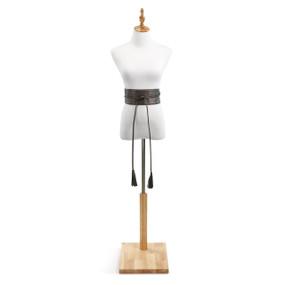 White mannequin on wooden stand with black tassle belt