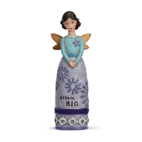 Small brunette angel figurine wearing light purple dress that says 'dream big' carved in