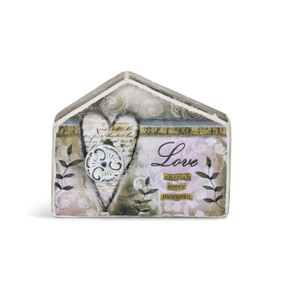 Light grey with pink designs house figurine - carved heart and 'love cherish every moment'