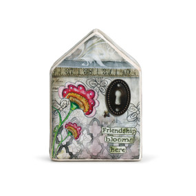 House figurine - grey colored with pink flower, brown key hole, and 'friendship blooms here'